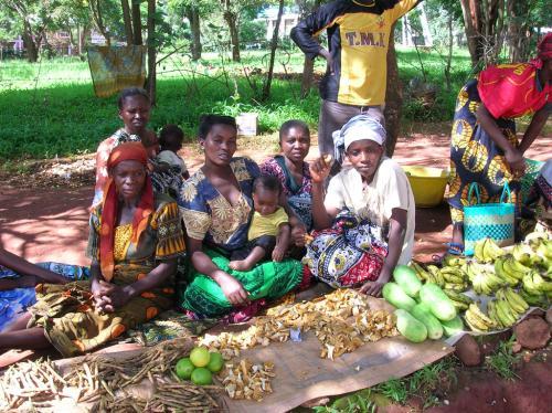 Vente de champignons et fruits par les femmes